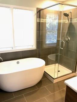 soaker tub, glass shower